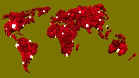 World map of red cubes with glowing data nodes Stock Photo