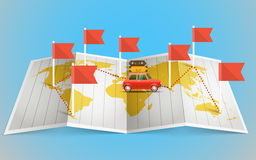World map with red flag and vehicle Royalty Free Stock Images