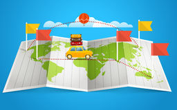 World map with red flag and vehicle Stock Photo