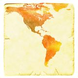 World map in red and yellow tones. USA and Latin America. Ancient paper background. Basic world map courtesy NASA. Stock Photography