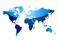 World map reflect blue Royalty Free Stock Photos