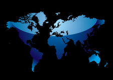 World map reflect blue black Stock Photography
