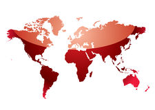 World map reflect red Stock Photography