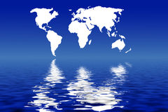 World map reflected Royalty Free Stock Photos