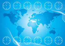 World map and region time Stock Images