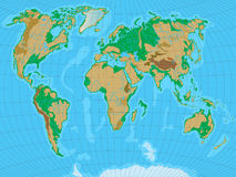 World map with relief Royalty Free Stock Photos