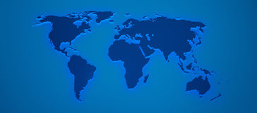 World map render 3D in blue Stock Image