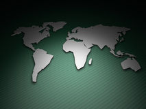 World Map Render on Green. 3D render of an extruded world map on a green geometric background with a single light source Royalty Free Stock Images