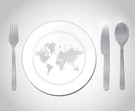World map restaurant plate illustration design Royalty Free Stock Image