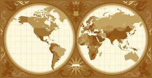 World map with retro-styled hemispheres Royalty Free Stock Image