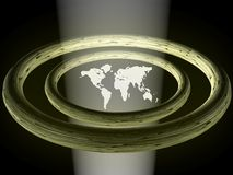 World map with rings Royalty Free Stock Photos