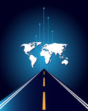World map and road vector illustration
