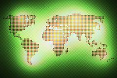 World map of round dots. Green background. Abstract glowing world map of round dots. Green on a dark background Royalty Free Stock Image