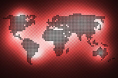 World map of round dots. Red background. Abstract glowing world map of round dots. Black on a red background Royalty Free Stock Image