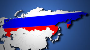 The world map with russia and their flags 3d render Royalty Free Stock Photo