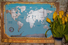 World map in Russian language Royalty Free Stock Photo