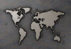 World map on rusty metal plate Stock Photos