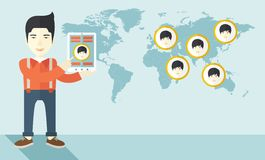 World map with same faces every destination Stock Photos