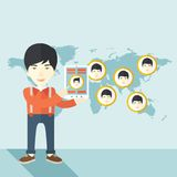 World map with same faces every destination Royalty Free Stock Photo