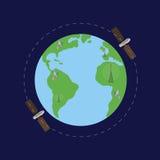 World map with satelites Stock Photos