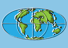 World map scan stylized vector image. Flat Globe Royalty Free Stock Photography