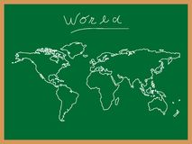 World map at school board Stock Image