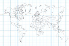 World Map on School Graph Paper. World Map Illusration on a school graph paper stock illustration