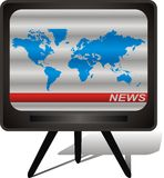 World map in scrambled tv image. Scrambled tv show  illustration Royalty Free Stock Images