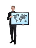 World map on screen Stock Photos