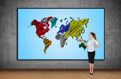 World map on screen Royalty Free Stock Images