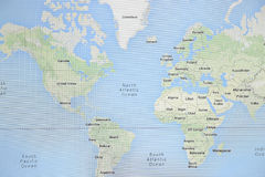 World Map from screen. The World Map with countries and cities from screen Royalty Free Stock Images