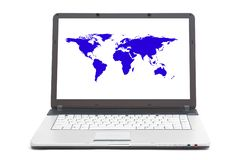 World map on the screen of notebook royalty free stock images