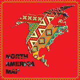 World map series. North America map with ethnic ornaments Stock Illustration