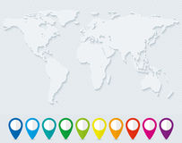 World map and set of colorful map pointers Royalty Free Stock Image