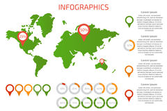 World map with set of infographics elements. Vector illustration Stock Photos