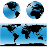 World map set (vector). Vectorial world map set. Two spheres with USA and Europe zones, and a total world map Stock Photo