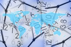 World map in several clocks Stock Image