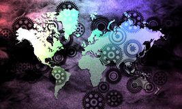 World map on shaded background with technology cogs texture. Vector illustration. Globe world business data collection trade technology background. banner vector illustration