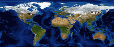 World Map - Shaded Relief with Bathymetry Royalty Free Stock Image