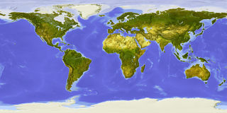World map, shaded relief, centered on Africa stock illustration