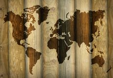 World Map Shadow on Wooden Planks royalty free illustration