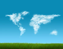 World map shaped clouds Stock Photo
