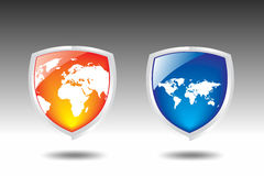 World map Shield vector. This is a world map Shield vector Stock Photo