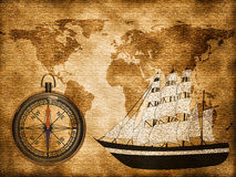 World map with ship. World map on old paper with ship and compass Royalty Free Stock Photos