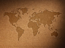 World map shows the corrugated cardboard Royalty Free Stock Photography