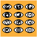 World map sign in the eye,eye sign,vision concept. Royalty Free Stock Image