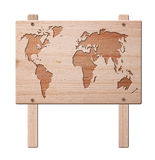 World map sign, isolated, clipping path. Stock Photography
