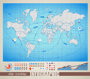World map with signs Royalty Free Stock Photo