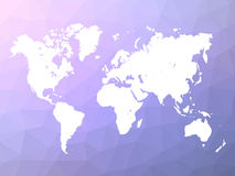 World map silhouette on blue-violet low poly background Stock Images
