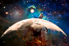 World map silhouette dome on the planet Earth in an outer space, collage. stock illustration